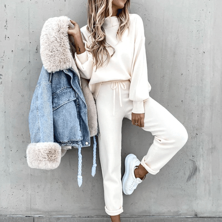 Dresy damskie bawełniane zestaw na jesień bluza damska + długie spodnie