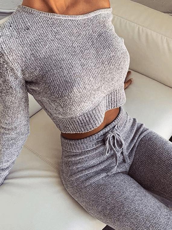 Szare dresy damskie dzianinowe z asymetryczną bluzą i spodniami