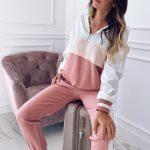 Ombre dres damski bawełniany w odcieniach różu z bluzą ze stójką