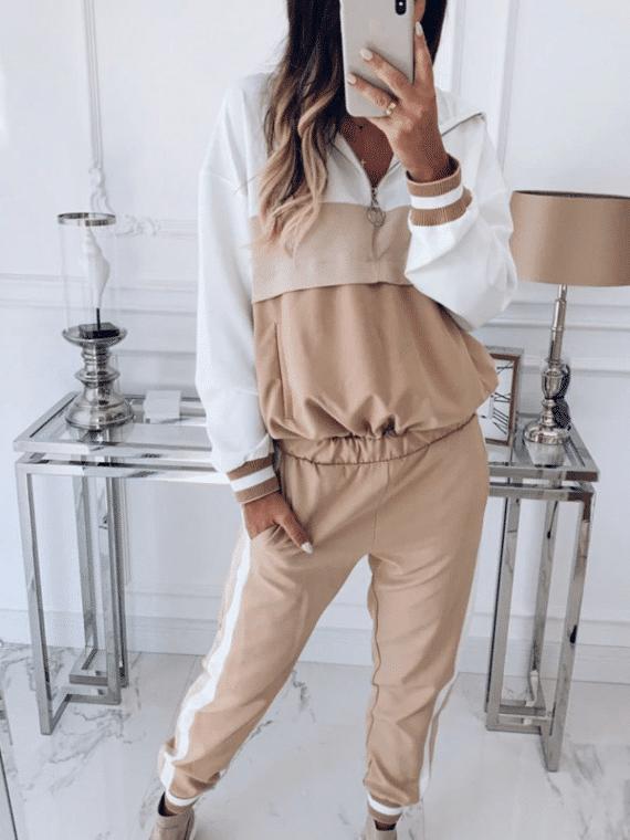 Sportowy dres damski bawełniany w kolorze beżowym w paski i z lampasami