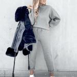 Szare dresy damskie bawełniane zestaw sweter ze spodniami na jesień