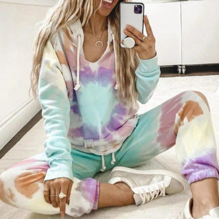 Tie dye dresy damskie cienkie w pastelowych kolorach ze ściągaczami zestaw