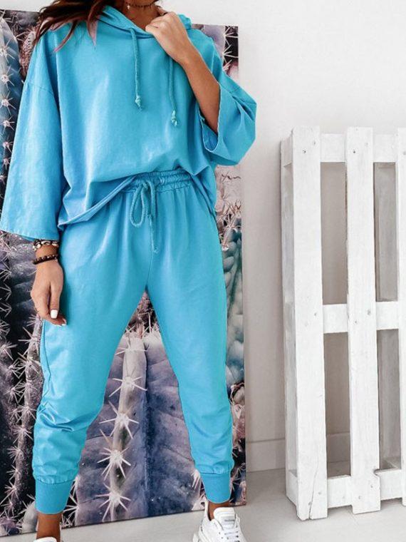 Turkusowe cienkie dresy damskie komplet bluza bez ściągaczy i spodnie baggy