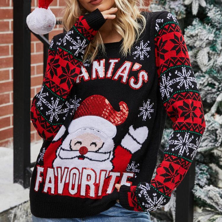 Śmieszny sweter świąteczny damski z mikołajem i śnieżynkami na rękawach czarny 1