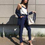 Błękitny garnitur trzyczęściowy damski zestaw bluzka marynarka i spodnie paperbag 1