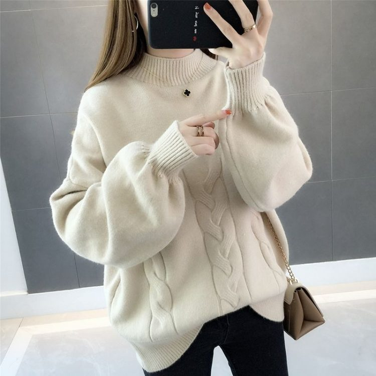 Chabrowy sweter damski z bufiastymi rękawami i półgolfem w warkocze 1