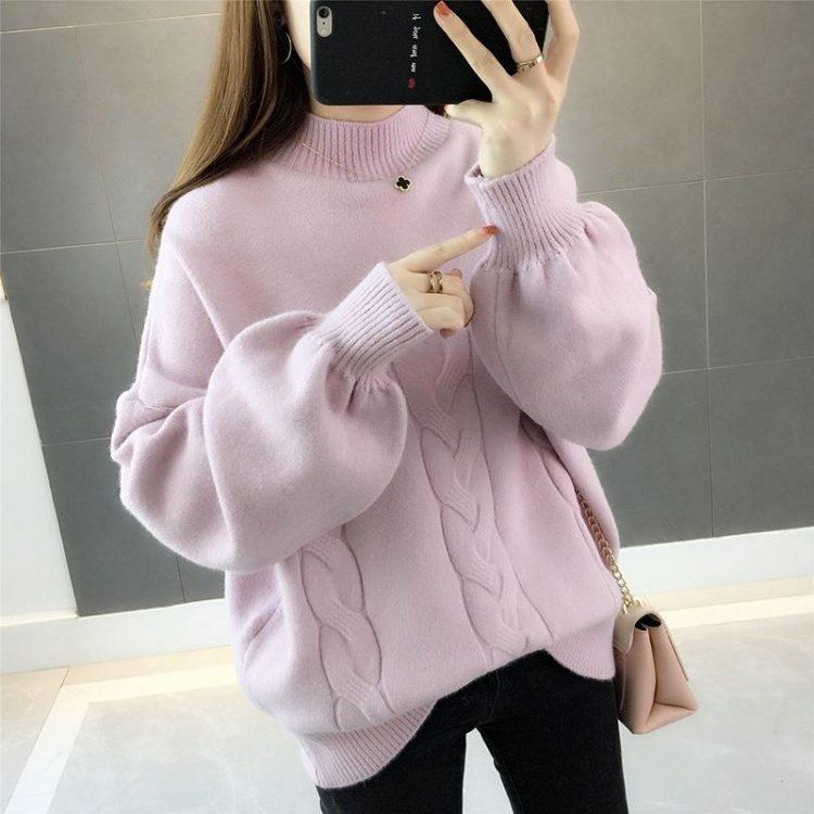 Chabrowy sweter damski z bufiastymi rękawami i półgolfem w warkocze 2