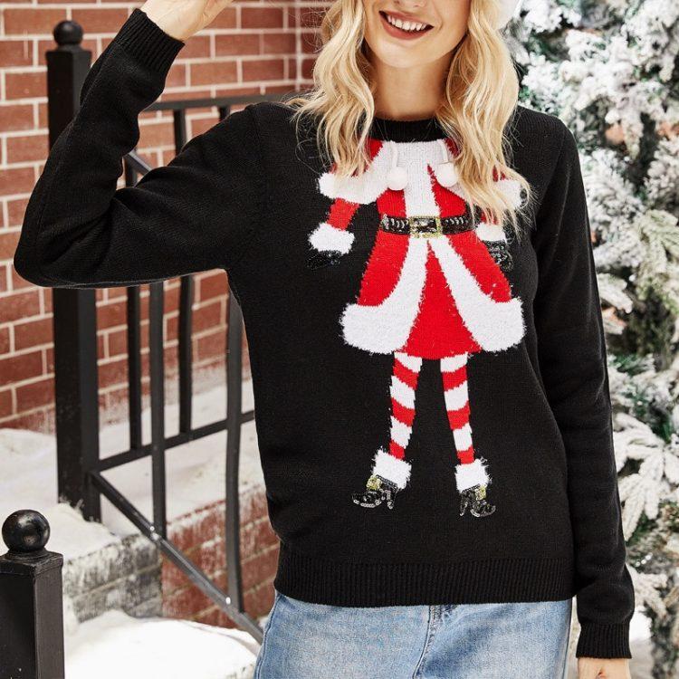 Czarny sweter świąteczny damski z motywem mikołajki na przodzie 1