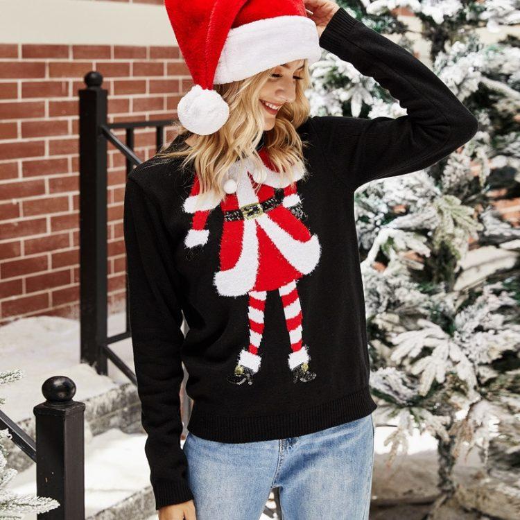 Czarny sweter świąteczny damski z motywem mikołajki na przodzie