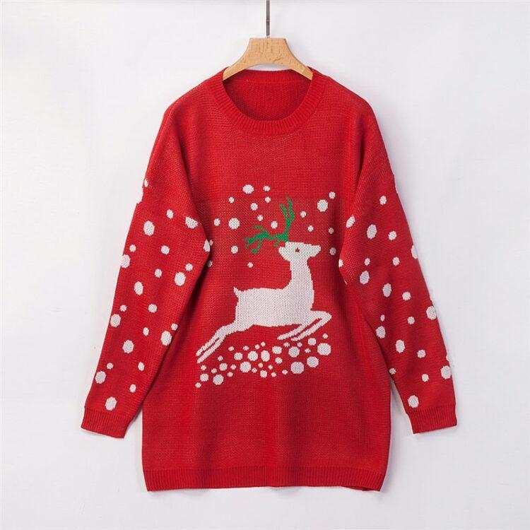 Czerwony sweter świąteczny tunika o dłuższym kroju z motywem bałwana 1