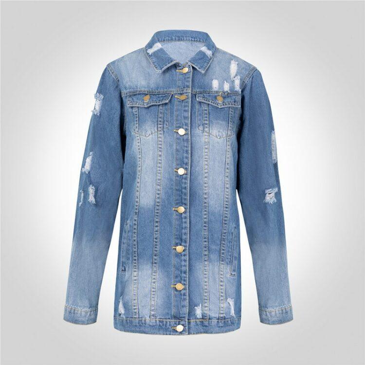 Długa klasyczna kurta jeansowa w stylu oversize w kolorze niebieskim 2