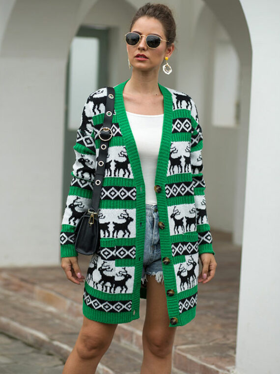 Damski sweter świąteczny typu kardigan w kolorze zielonym z reniferami