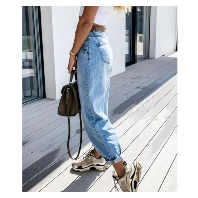 Damskie spodnie z wysokim stanem typu slouchy z szeroką nogawką jeansowe 2