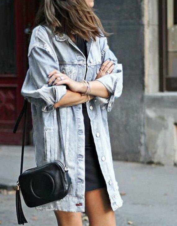 Długa klasyczna kurta jeansowa w stylu oversize w kolorze niebieskim 1