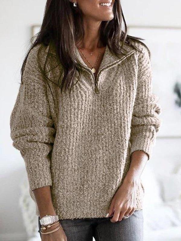 Grafitowy damski dzianinowy sweter z golfem zapinanym na suwak typu stójka 1