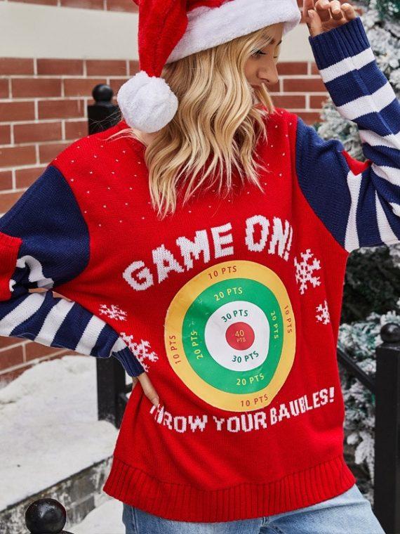 Granatowo czerwony sweter świąteczny śmieszny z tarczą i kieszonkami na rękawach