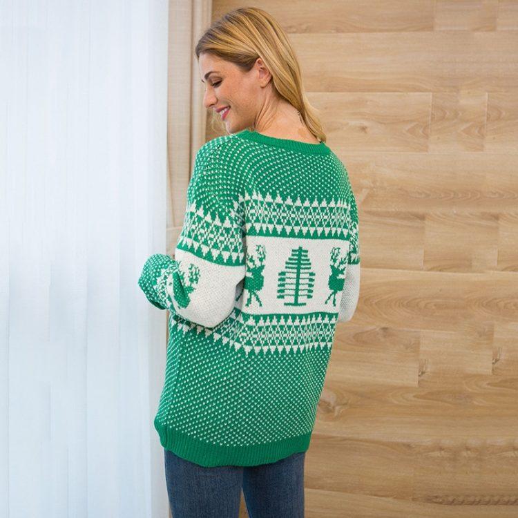 Grantowy sweter świąteczny norweski z motywem renifera i geometrycznych wzorów 1