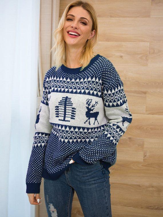 Grantowy sweter świąteczny norweski z motywem renifera i geometrycznych wzorów