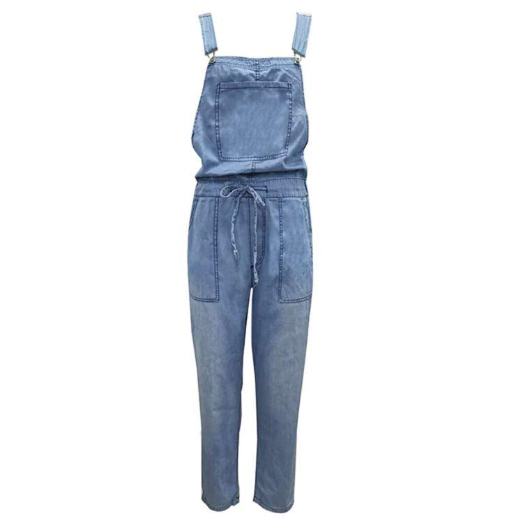 Klasyczne ogrodniczki damskie jeansowe w stylu boyfriend z wiązaniem w pasie 1