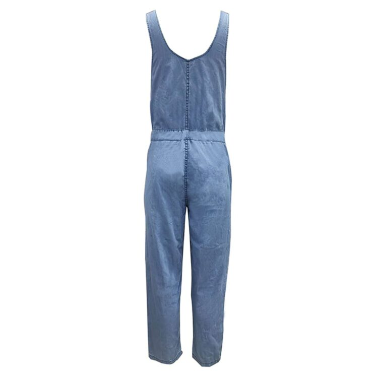 Klasyczne ogrodniczki damskie jeansowe w stylu boyfriend z wiązaniem w pasie 2