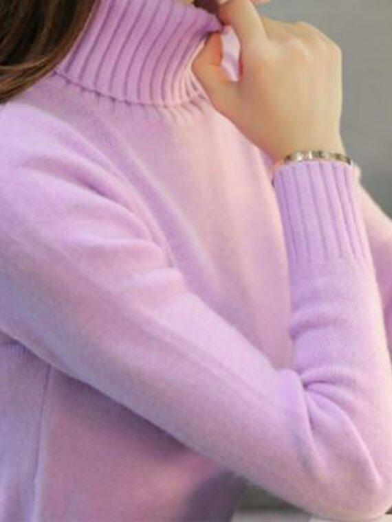 Klasyczny liliowy sweter z golfem w stylu klasycznym z ściągaczami
