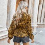Kopertowa koszula damska z wiązaniem w pasie w lamparcie cętki 4