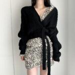 Liliowy sweter kopertowy z wiązaniem w pasie w stylu ovesize 3