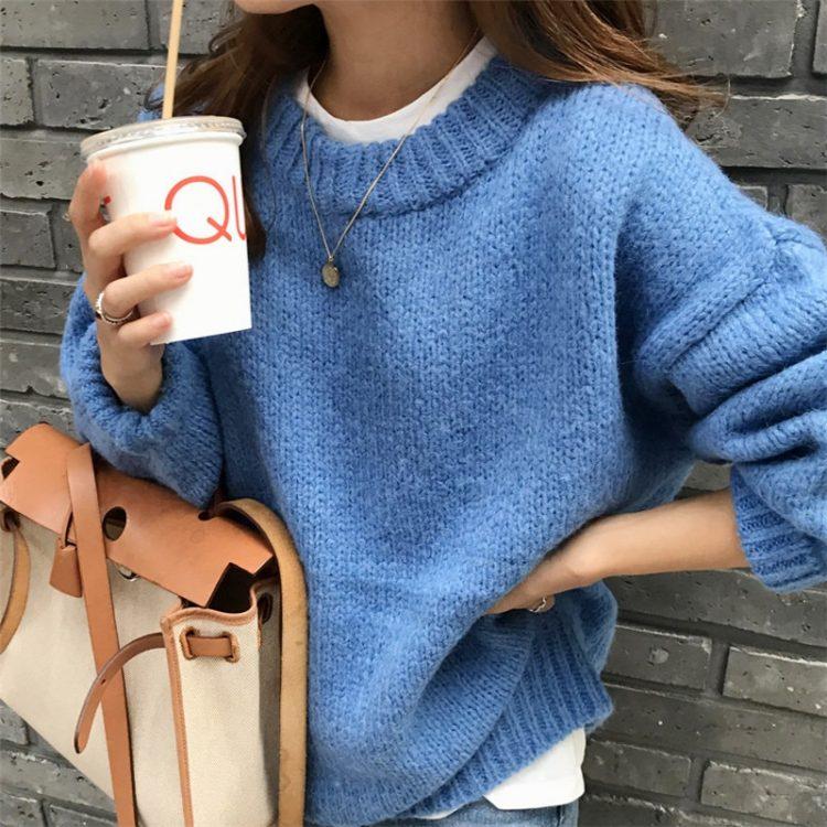 Luźny klasyczny sweter damski w kolorze pomarańczowym w stylu oversize 1