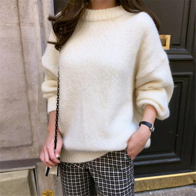 Luźny klasyczny sweter damski w kolorze pomarańczowym w stylu oversize 2