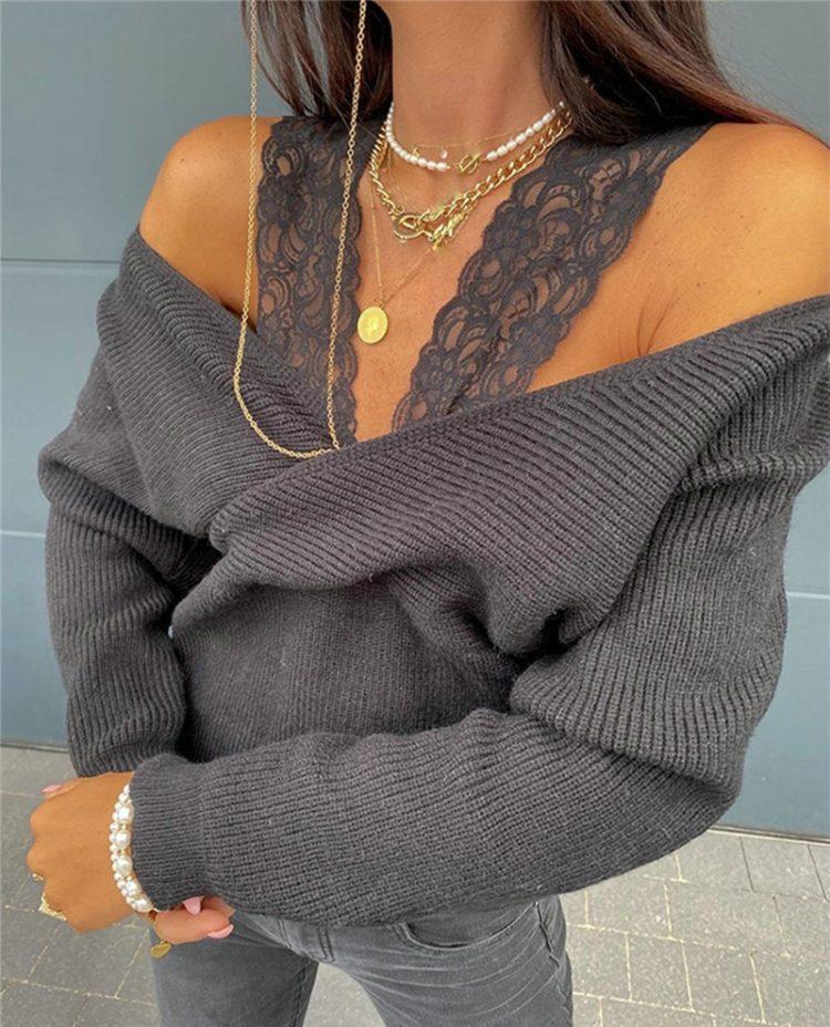 Mocca sweter kopertowy z odkrytymi ramionami i nietoperzowymi rękawami 1