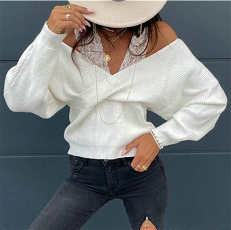 Mocca sweter kopertowy z odkrytymi ramionami i nietoperzowymi rękawami 2