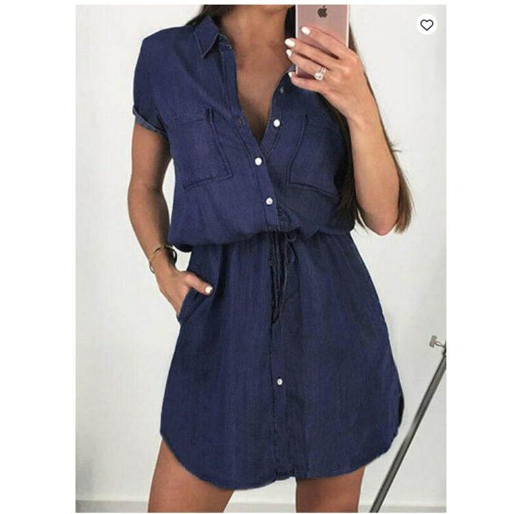 Niebieska sukienka szmizjerka jeansowa z wiązaniem w pasie 1