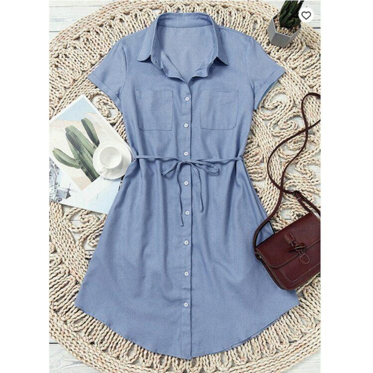 Niebieska sukienka szmizjerka jeansowa z wiązaniem w pasie 2