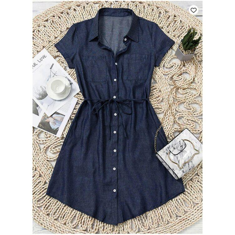 Niebieska sukienka szmizjerka jeansowa z wiązaniem w pasie 3