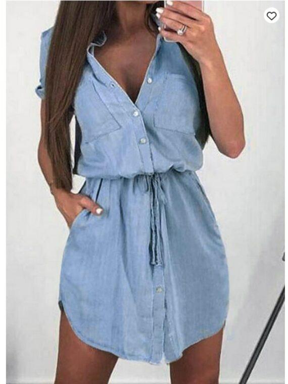 Niebieska sukienka szmizjerka jeansowa z wiązaniem w pasie