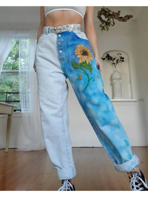 Patchworkowe spodnie dżinsy z wyższym stanem typu boyfriend ze słonecznikiem