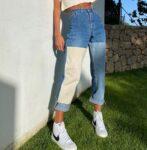 Patchworkowe spodnie damskie jeansy typu boyfriend z kolorowymi wstawkami 1