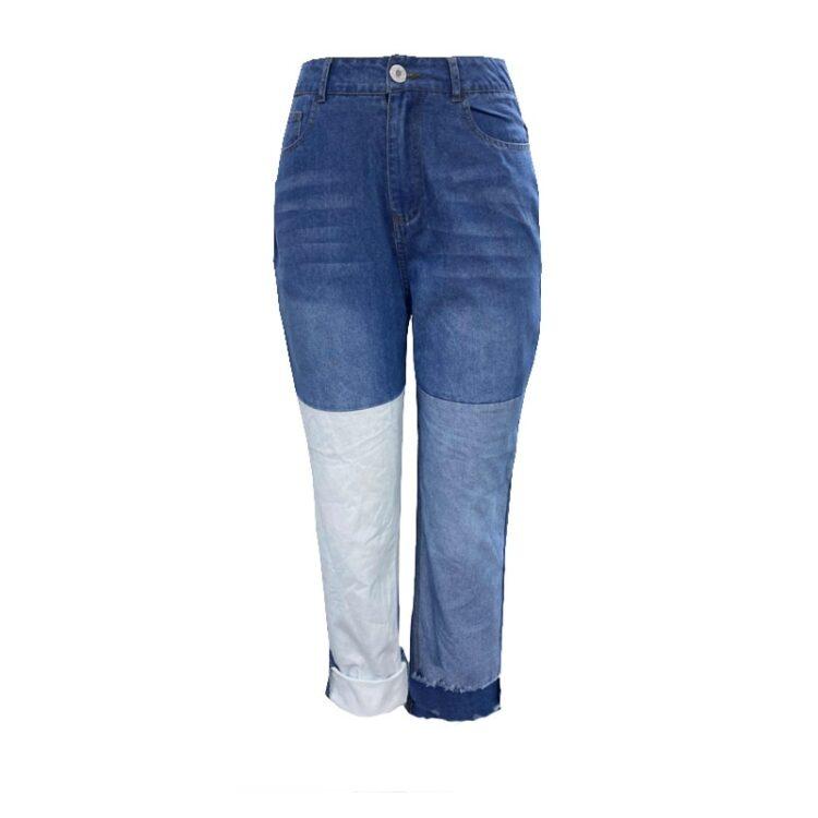 Patchworkowe spodnie damskie jeansy typu boyfriend z kolorowymi wstawkami 2