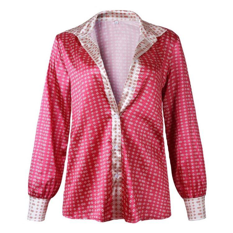 Różowa koszula w geometryczny wzór z zapięciem na guziki i kołnierzykiem 1