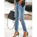 Spodnie jeansy damskie z prostą nogawką i łatami z flagą amerykańską średni denim 1