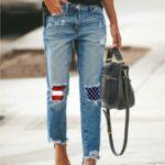 Spodnie jeansy damskie z prostą nogawką i łatami z flagą amerykańską średni denim
