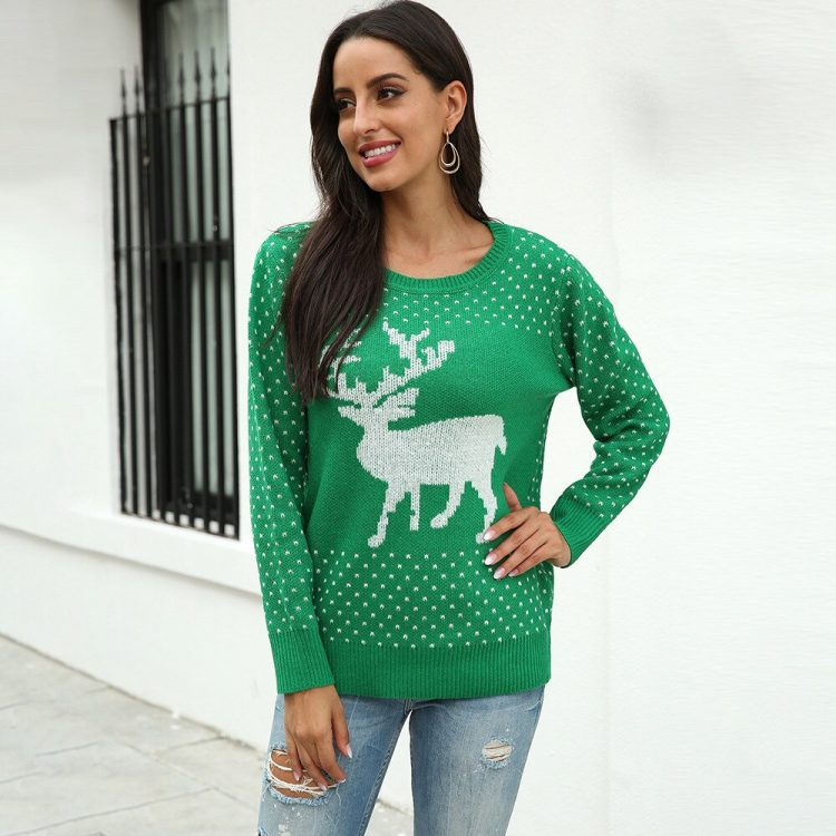 Zielony sweter świąteczny damski z aplikacją renifera tani dzianinowy 1