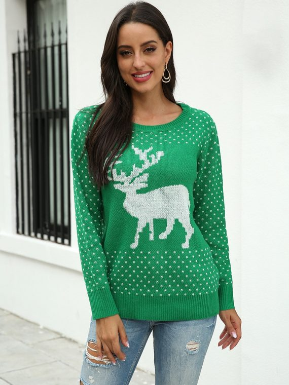 Zielony sweter świąteczny damski z aplikacją renifera tani dzianinowy