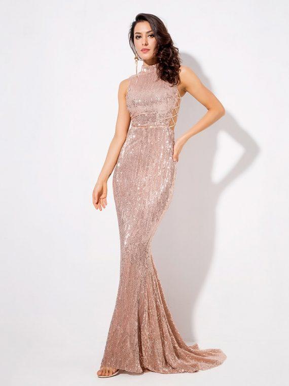 Jasno różowa długa sukienka wieczorowa z cekinami typu syrenka