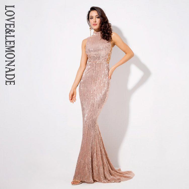Jasno różowa długa sukienka wieczorowa z cekinami typu syrenka 3