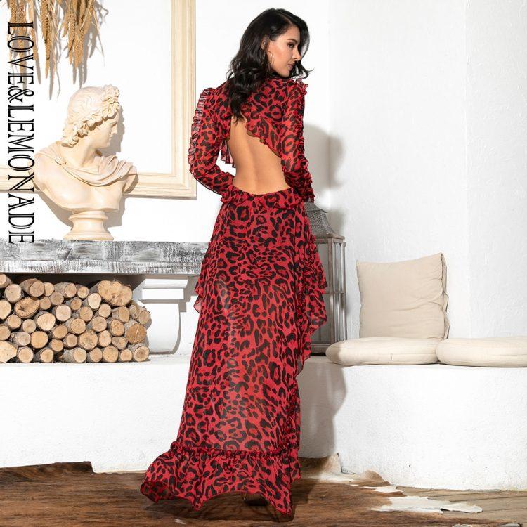 Czerwona panterka długa sukienka szyfonowa z dłuższym tyłem 2