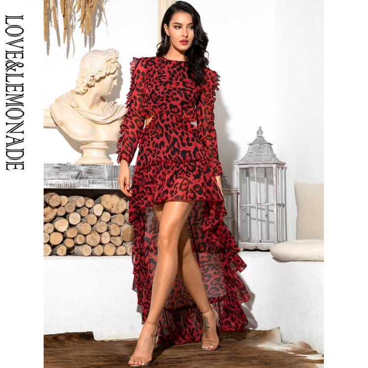 Czerwona panterka długa sukienka szyfonowa z dłuższym tyłem