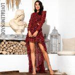 Czerwona panterka długa sukienka szyfonowa z dłuższym tyłem 1