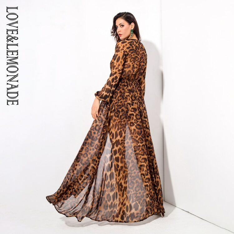 Sukienka maxi panterka brązowa z długim rękawem 2
