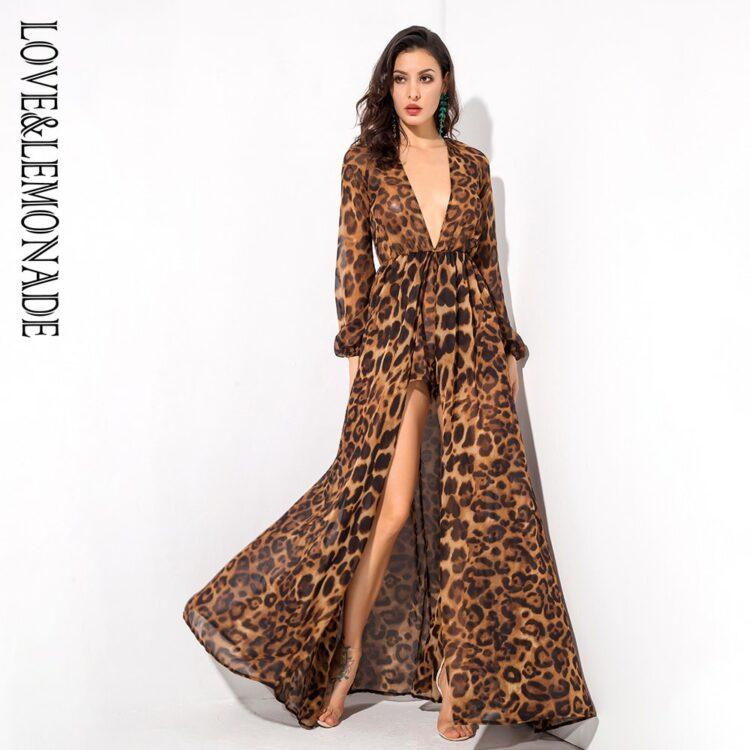 Sukienka maxi panterka brązowa z długim rękawem